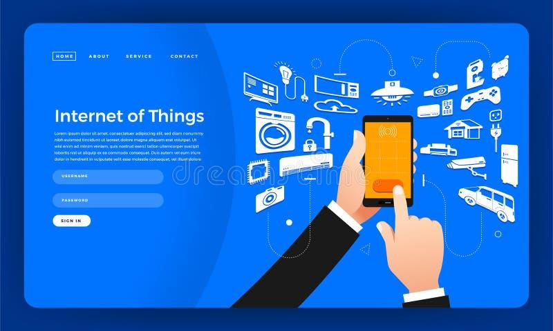 Internet för begrepp för design för lägenhet för modelldesignwebsite av saker (I royaltyfri illustrationer