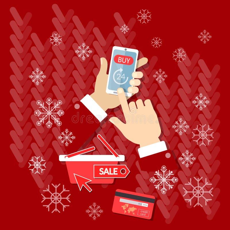 Internet för julförsäljningsköp som nu shoppar online-lagere-kommers stock illustrationer