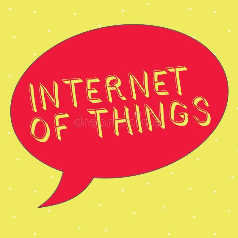 Internet för ordhandstiltext av saker Affärsidéen för anslutning av apparater till det netto som ska överföras, mottar data vektor illustrationer
