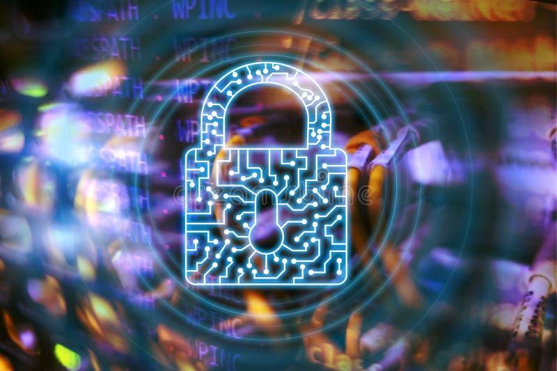 Internet för skydd för data för avskildhet för information om symbol för Cybersäkerhetslås och teknologibegrepp stock illustrationer