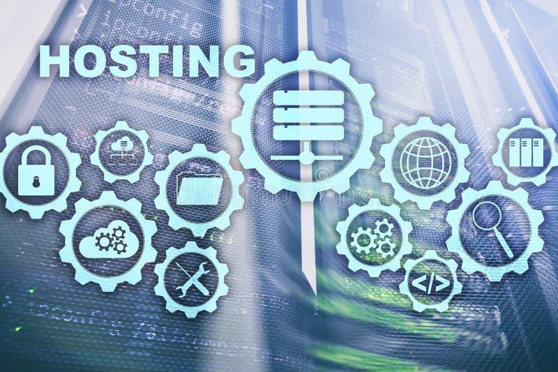 Internet för teknologi för vara värd för rengöringsduk och knyta kontakt begrepp På serverrumbakgrund Virual skärm royaltyfria foton