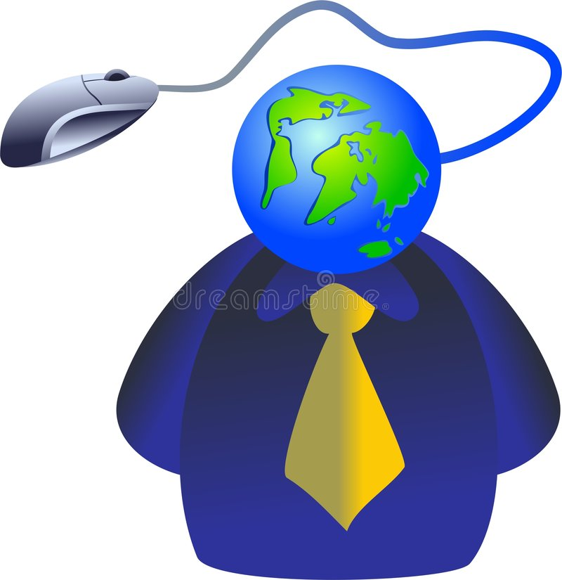 Internet face. Man with a global internet connection for a face - icon people series stock illustration