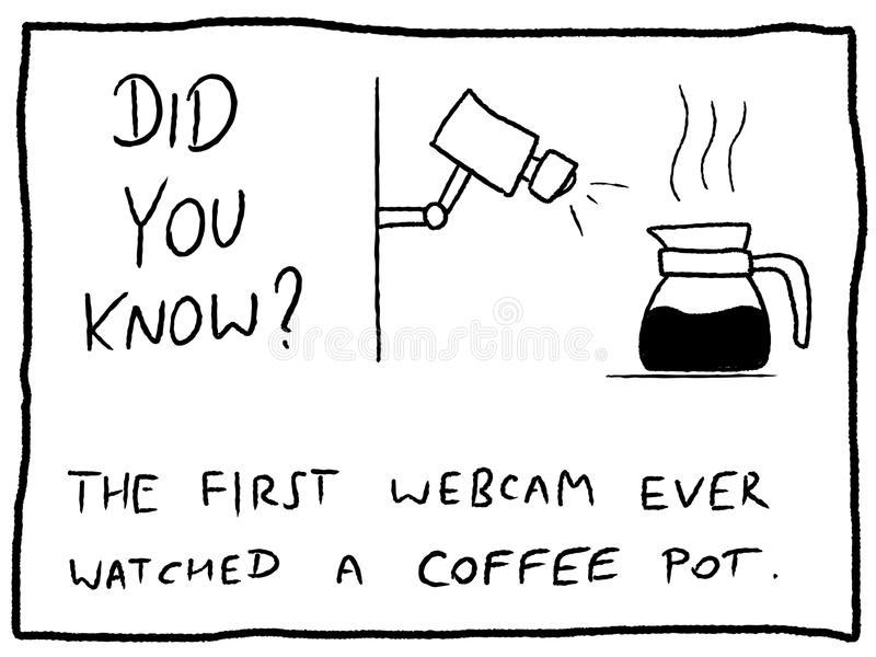 Internet facts. About first webcam history - fun trivia cartoon doodle concept. Newspaper funny comic fact royalty free illustration