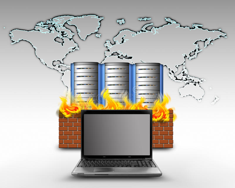 Internet firewall protection stock illustration