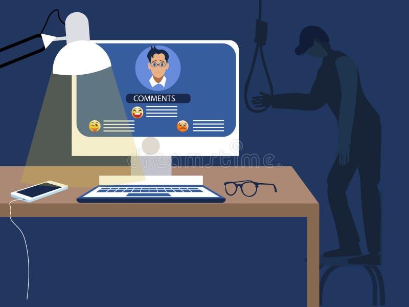 Internet fiska med drag i Följderna av förödmjukelsen av sociala nätverk, negativa granskningar leder till självmordet Plan vekto royaltyfri illustrationer