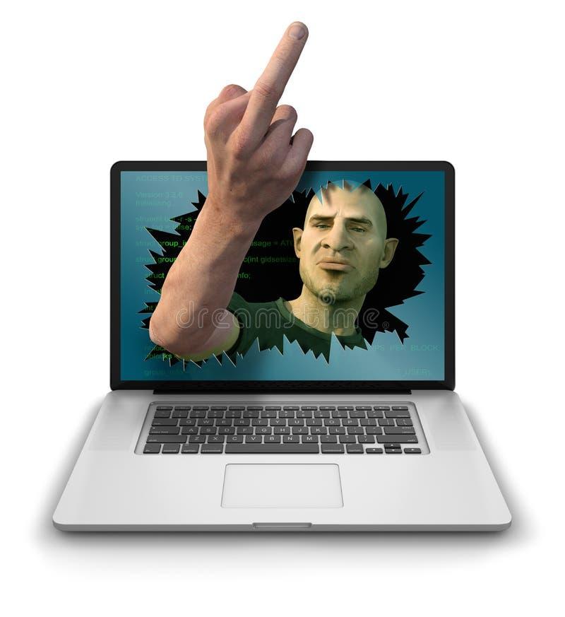 Internet fiska med drag i ge fingret royaltyfri illustrationer