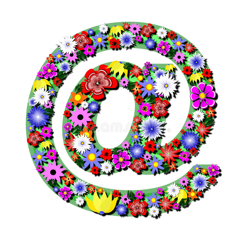 Internet flowers. Internet button with colour flowers royalty free illustration