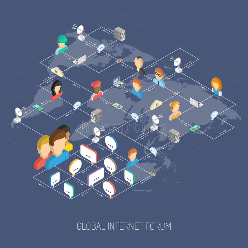 Internet Forum Concept. With isometric people avatars speech bubbles and world map vector illustration royalty free illustration