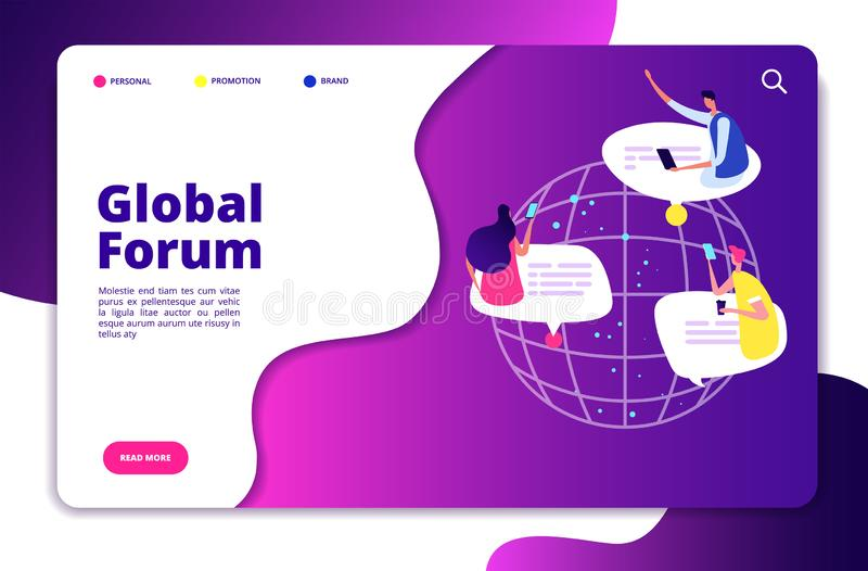 Internet forum concept. People discussion mobile networking communication friend chatting group user email technology stock illustration