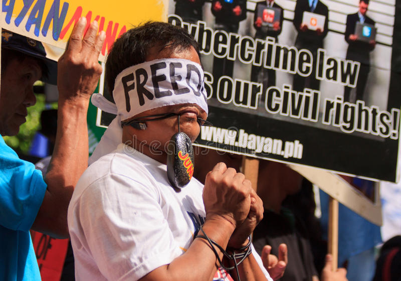Internet freedom law protest in Manila, Philippines. The Philippine Internet Freedom Alliance (PIFA) and other groups including Bayan Muna, Piston, and Gabriela stock photography