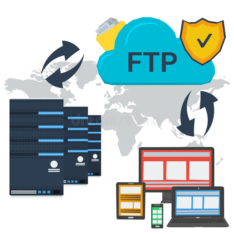 Internet FTP server and online storage. Vector concept internet FTP server and online cloud storage and easy access to personal data with various devices. Web stock illustration