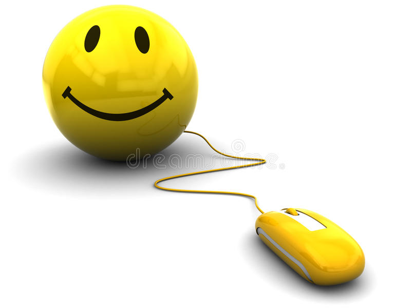 Internet fun. 3d illustration of computer mouse connected to smiley royalty free illustration