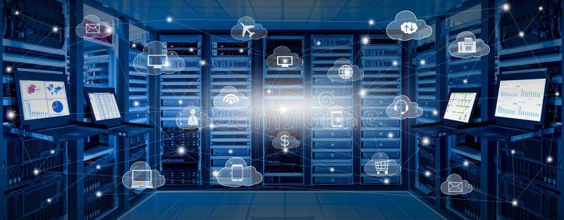 Internet-gegevenscentrum en van de wolkendiensten concept vector illustratie
