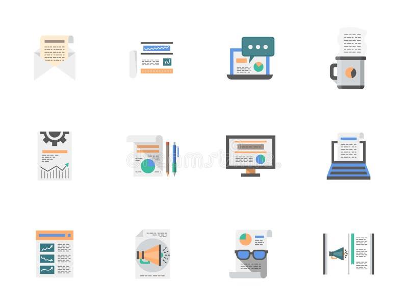 Internet-geplaatste pictogrammen van de artikelen de vlakke kleur royalty-vrije illustratie