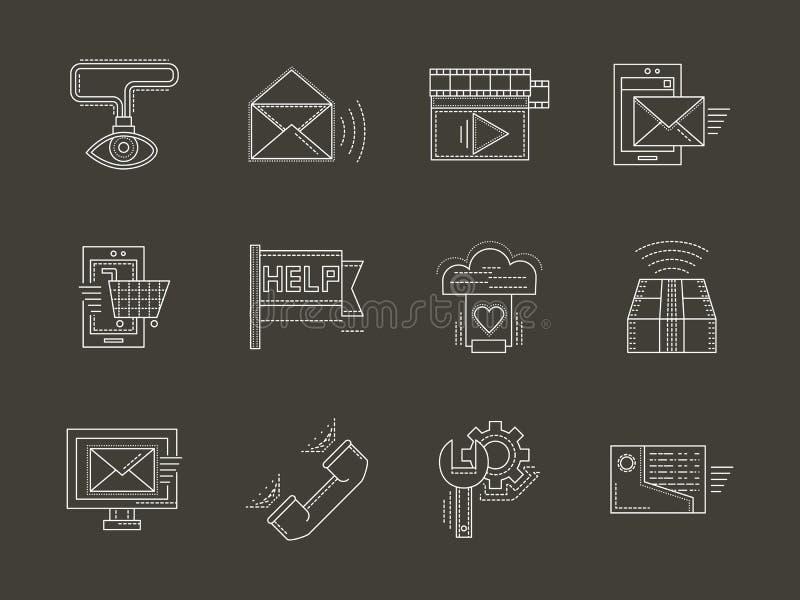 Internet-geplaatste pictogrammen van de de diensten de witte lijn royalty-vrije illustratie