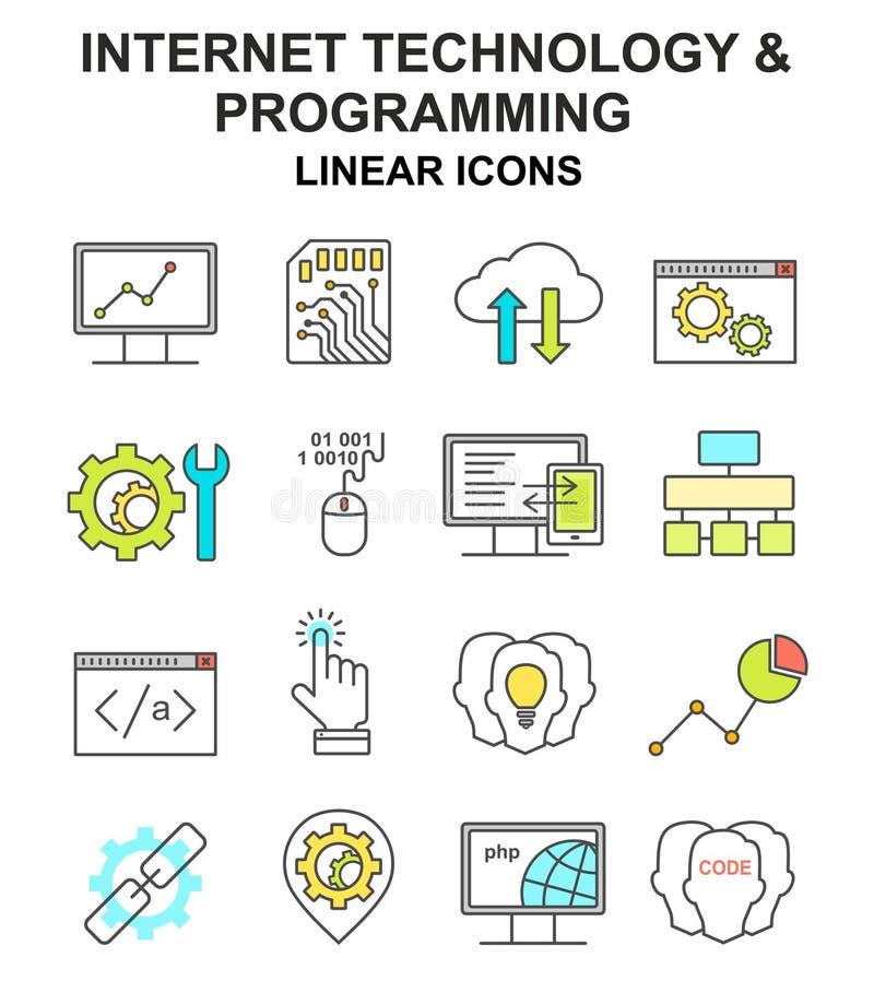 Internet-geplaatste technologie en programmering gekleurde lineaire pictogrammen vector illustratie