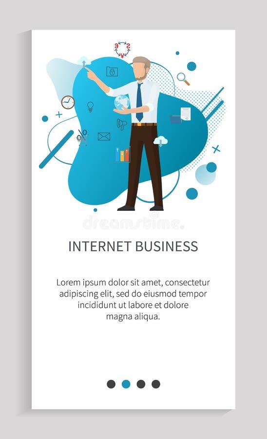 Internet-Geschäft, on-line-Innovation des Mann-Vektors vektor abbildung