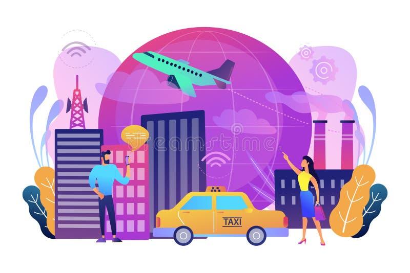 Internet global del ejemplo elegante del vector del concepto de la ciudad de las cosas ilustración del vector