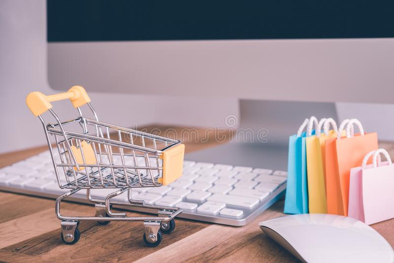 Internet global online shopping, worldwide e-commerce concept - royalty free stock photography
