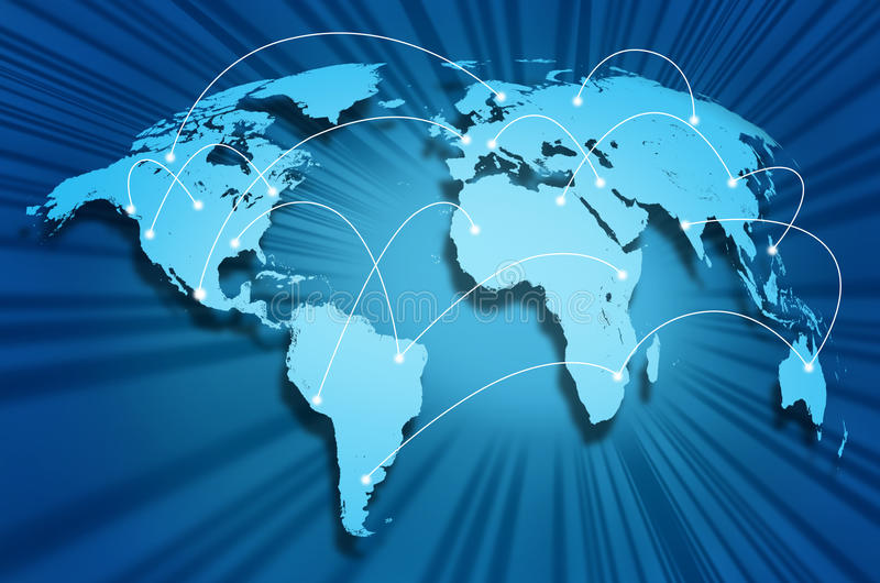 Internet globe. Global internet connections around the world connecting social media sites and web portals from international technology providers and vector illustration