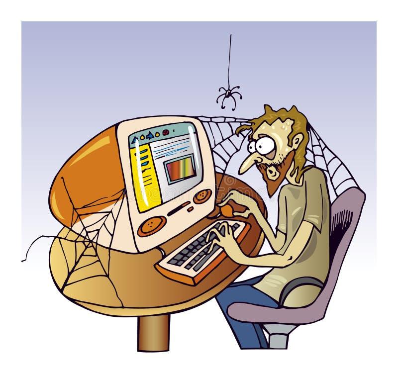 Internet guy. Cartoon illustration of internet enthusiast guy vector illustration