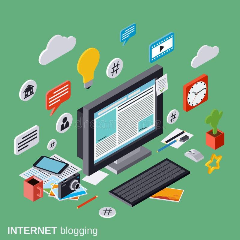 Internet-het blogging, Webpublicatie, journalistiek, het vectorconcept van het blogbeheer stock illustratie