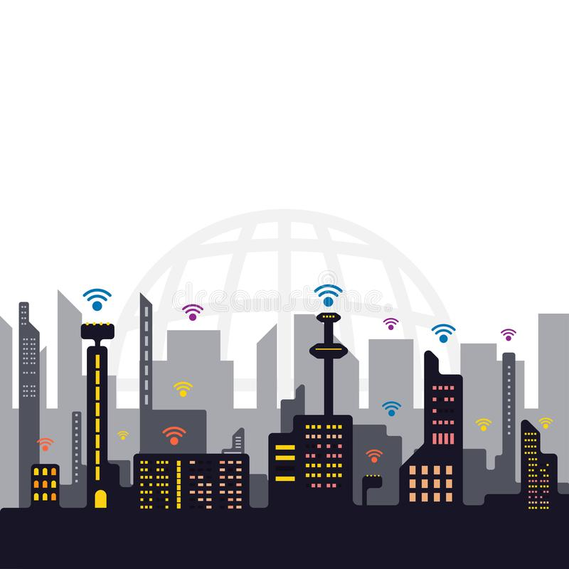 Internet-het concept van de signaalstad, de vector van de netwerkcommunicatietechnologie royalty-vrije illustratie