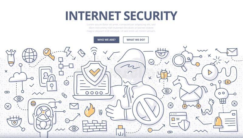 Internet-het Concept van de Veiligheidskrabbel vector illustratie