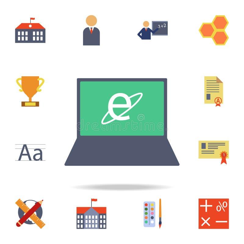 Internet in het laptop gekleurde pictogram Gedetailleerde reeks gekleurde onderwijspictogrammen Premie grafisch ontwerp Één van d royalty-vrije illustratie