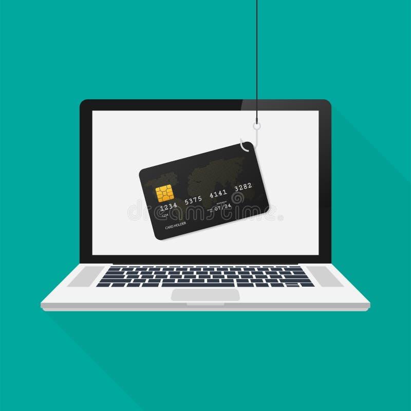 Internet-het phishing en het binnendringen in een beveiligd computersysteem aanval op laptop, vector vlak concept Vector illustra royalty-vrije illustratie