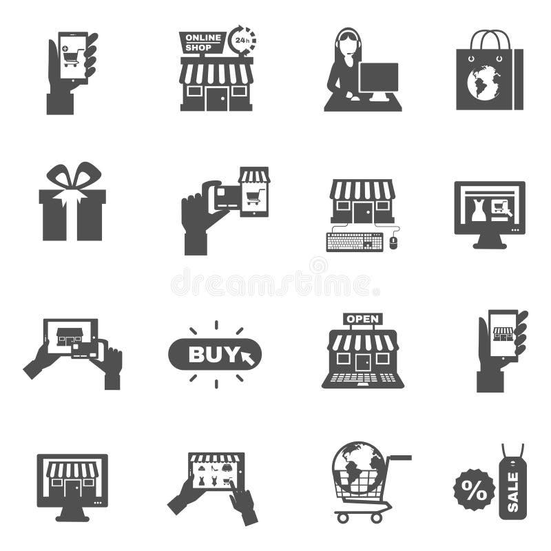 Internet-het Winkelen de Reeks van het Silhouetpictogram vector illustratie