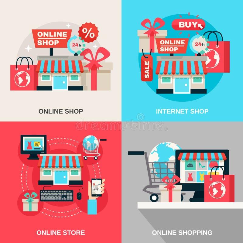 Internet-het Winkelen Decoratieve Pictogramreeks royalty-vrije illustratie