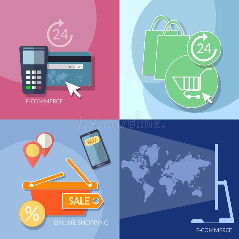Internet-het winkelen elektronische handelpictogrammen die mobiele geplaatste betalingen beleggen vector illustratie