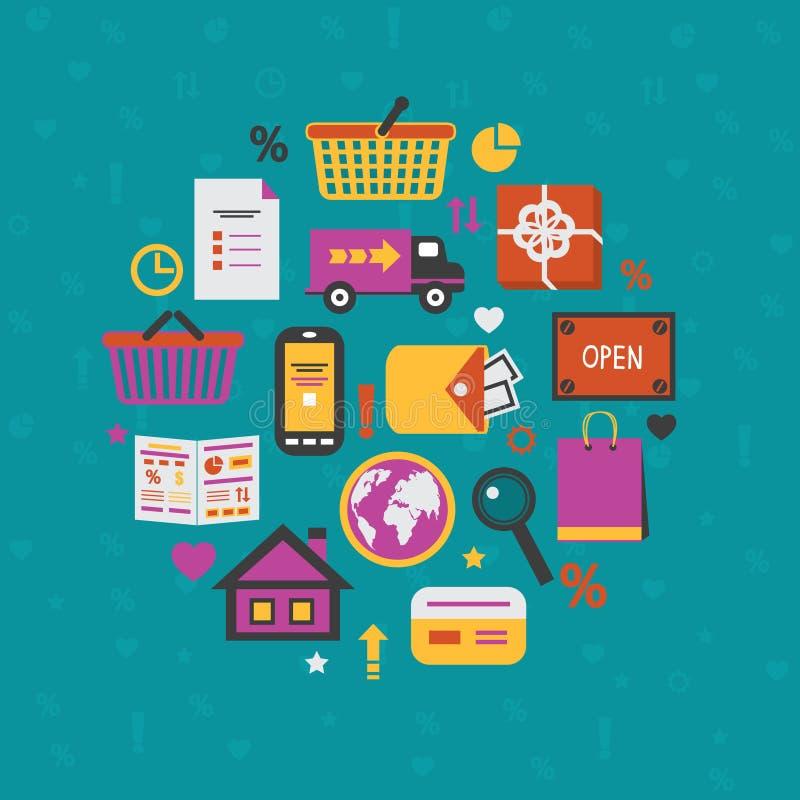 Internet-het winkelen geplaatste pictogrammen vector illustratie