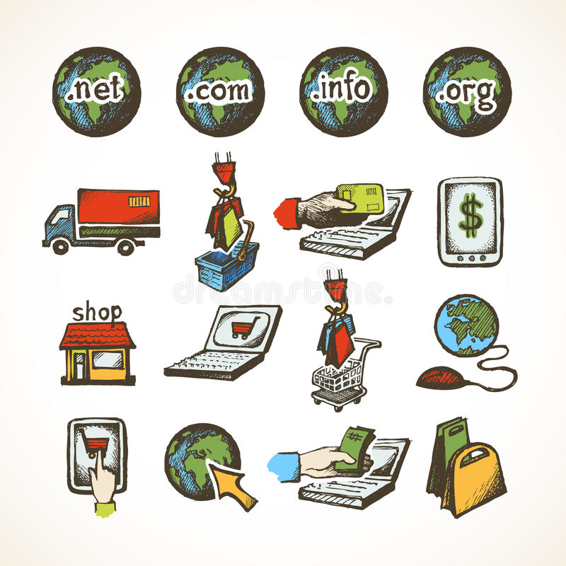 Internet-het winkelen pictogrammen vector illustratie
