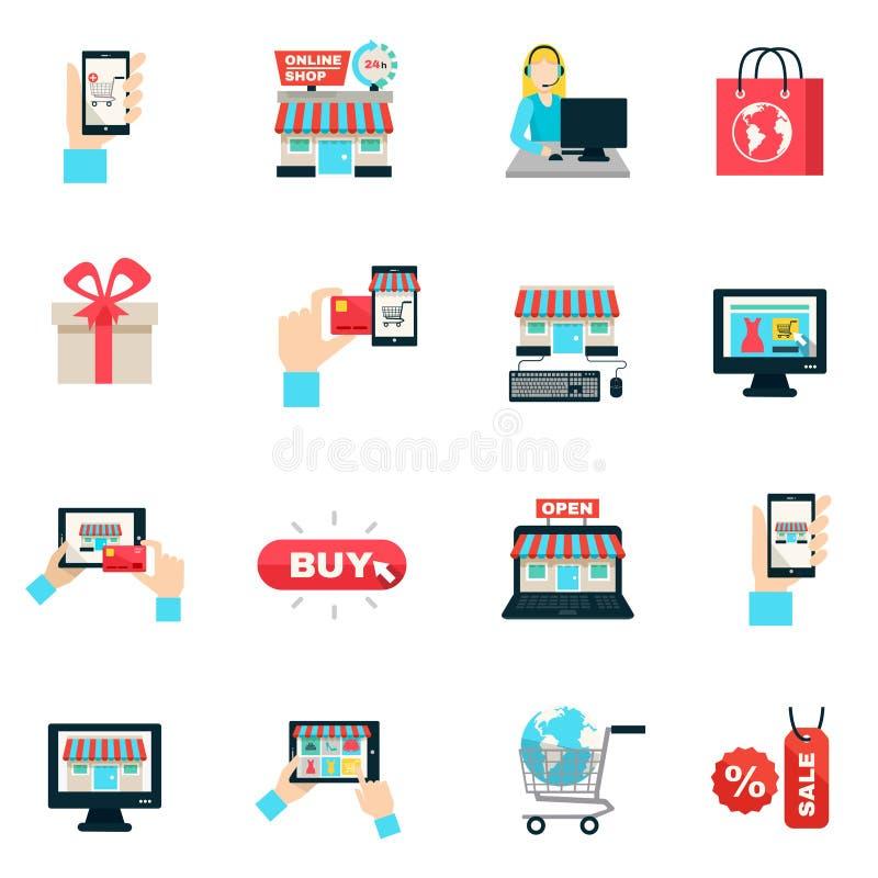 Internet-het Winkelen Vlakke Pictogramreeks stock illustratie
