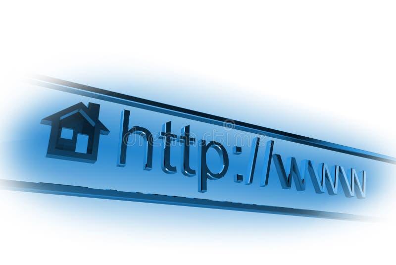 Internet homepage address. 3D internet homepage address on white stock illustration