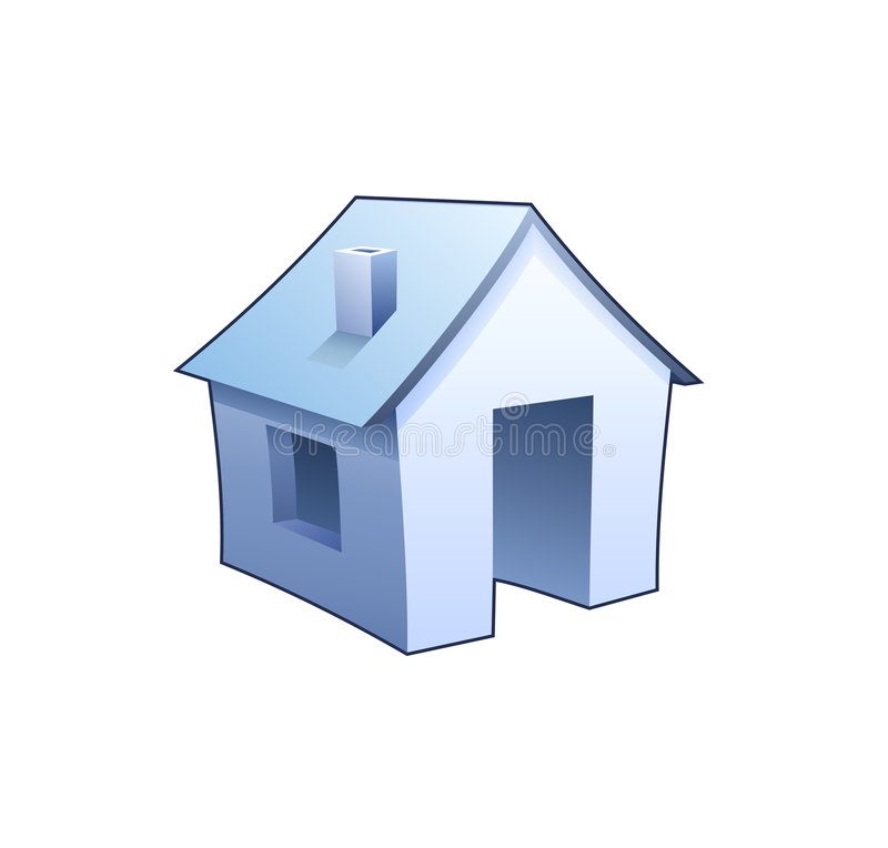 Internet homepage symbol - detailed icon of blue house. Internet homepage symbol - detailed icon of simple blue house stock illustration