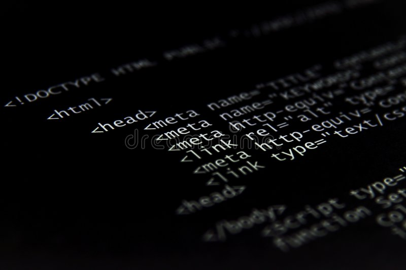 Internet html code. Technology black background (short focus royalty free stock image
