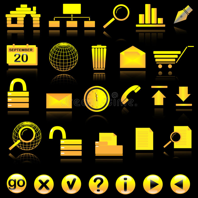 Internet icon set. General icons for web on black with reflection royalty free illustration