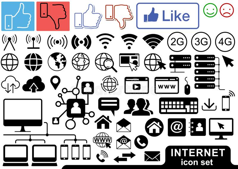Internet Icon Set in Black and Color. Illustrations for Your Projects, Vector royalty free illustration