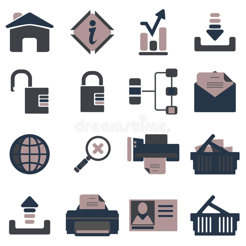 Internet icon set tricolor. Set of simple vector icons in tricolor stock illustration