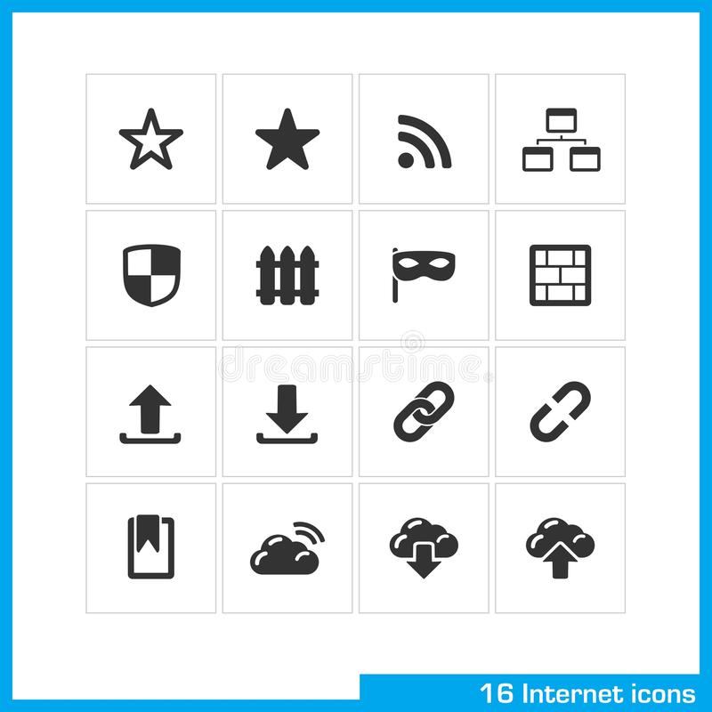 Internet icon set. Vector black pictograms for social web and mobile app, interface design. bookmark star, RSS, sitemap, network, link, download and upload royalty free illustration