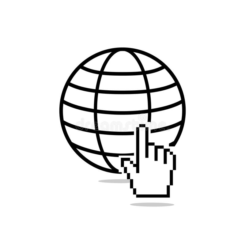 Site favicon with pixalate hand cursor. Internet icon. Site favicon with pixalate hand cursor stock illustration