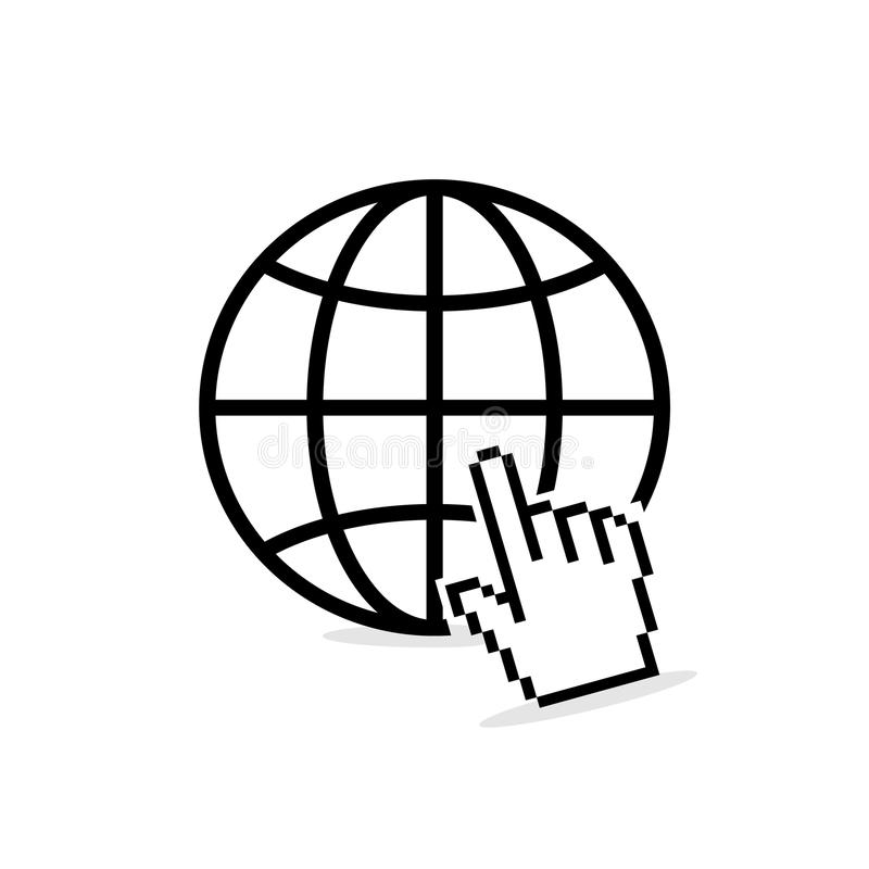 Site favicon with pixalate hand cursor. Internet icon. Site favicon with pixalate hand cursor royalty free illustration
