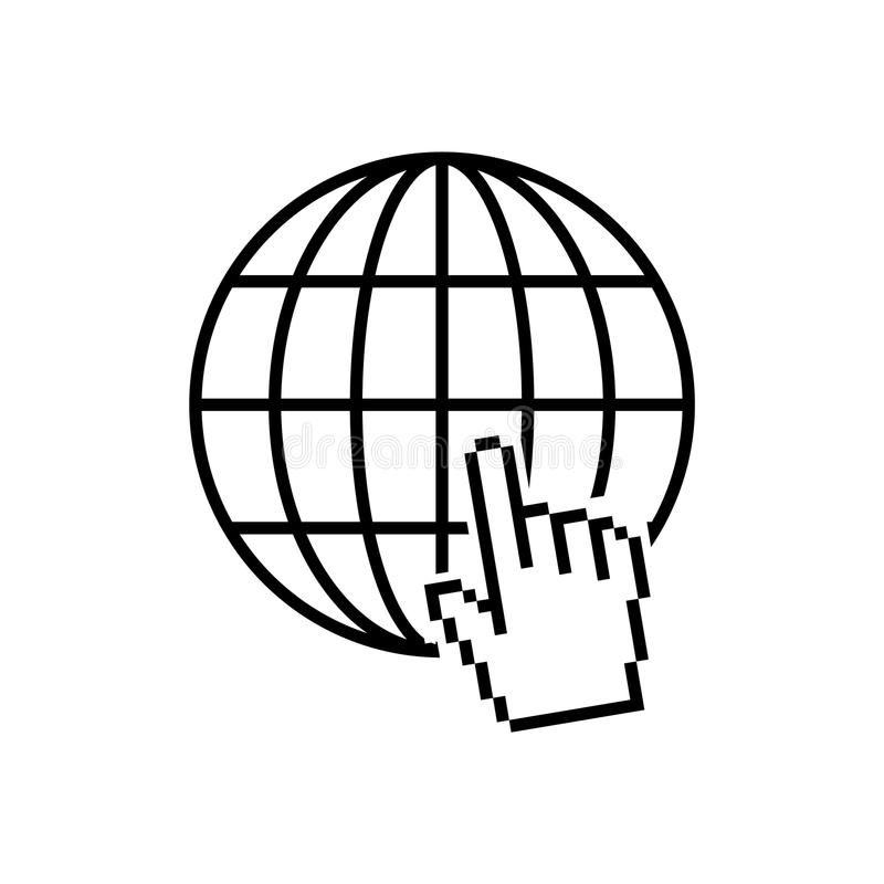 Site favicon with pixalate hand cursor. Internet icon. Site favicon with pixalate hand cursor vector illustration