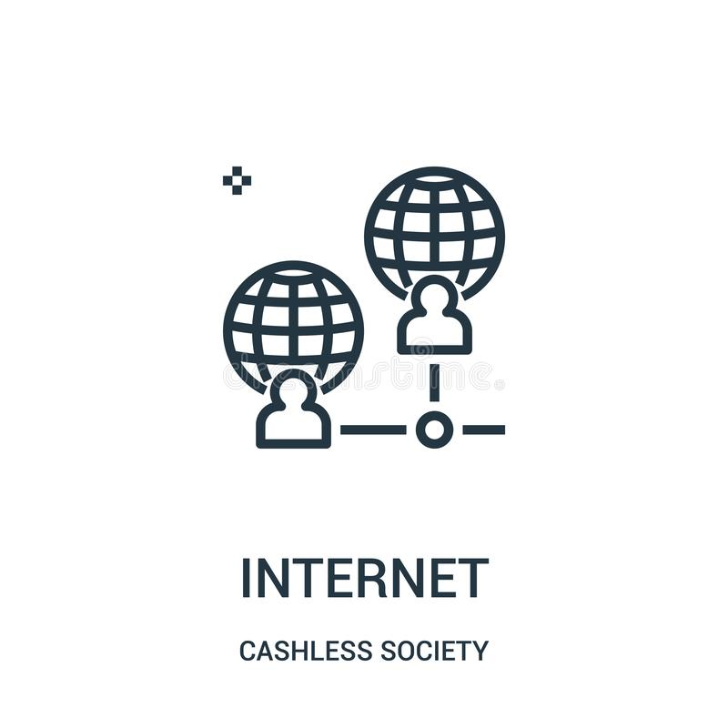 Internet icon vector from cashless society collection. Thin line internet outline icon vector illustration. Linear symbol for use on web and mobile apps, logo royalty free illustration
