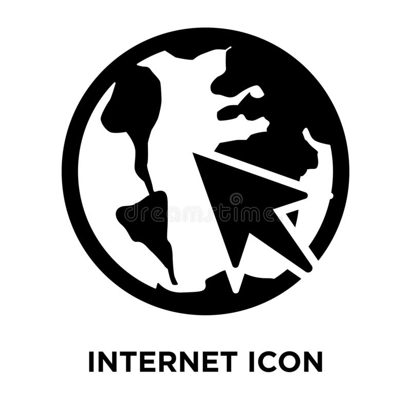 Internet icon vector isolated on white background, logo concept. Of Internet sign on transparent background, filled black symbol royalty free illustration