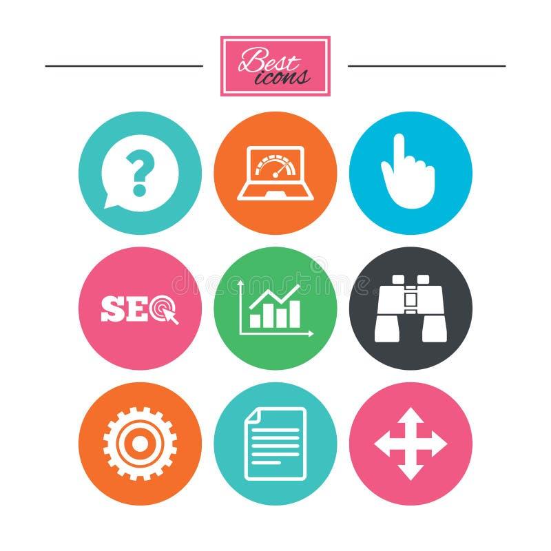 Internet, icone di seo Segno del grafico di analisi illustrazione di stock