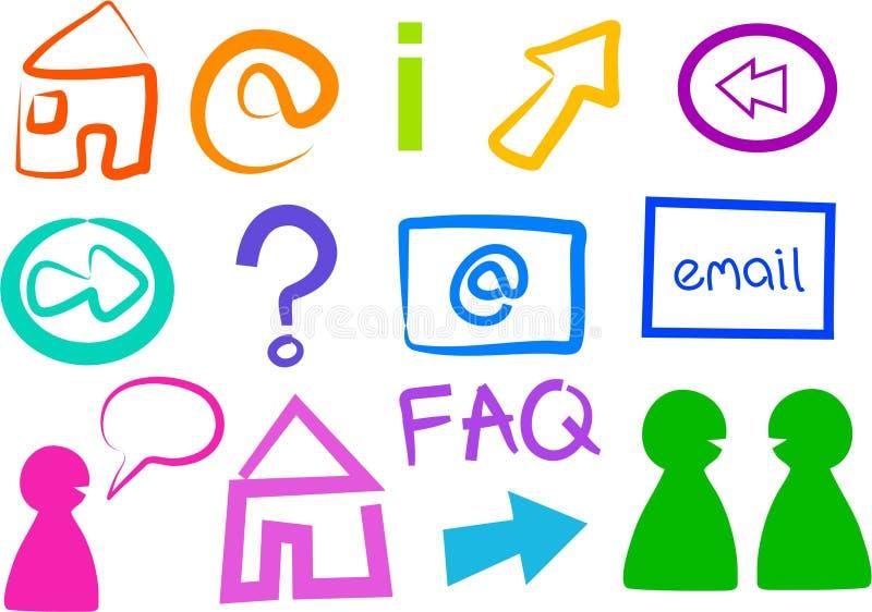 Internet Icons. And symbols isolated on white royalty free illustration